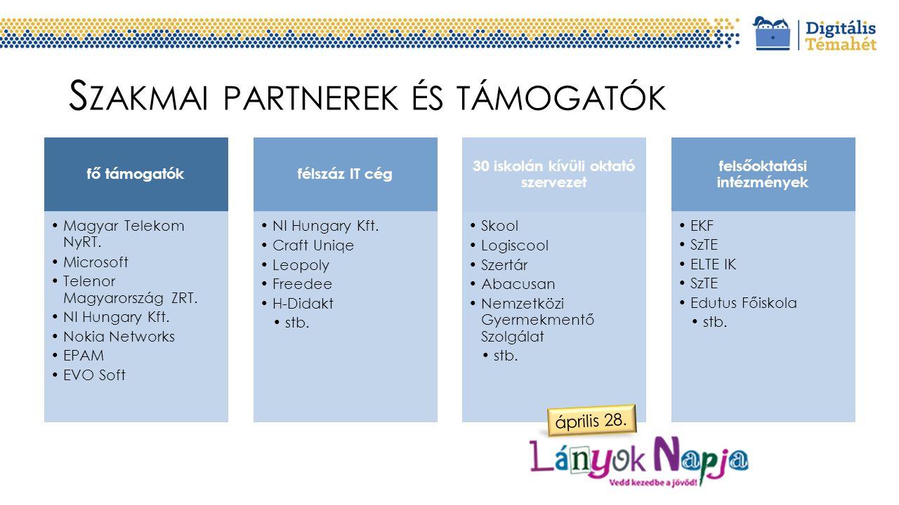 S ZAKMAI PARTNEREK ÉS TÁMOGATÓK fő támogatók Magyar Telekom NyRT.
