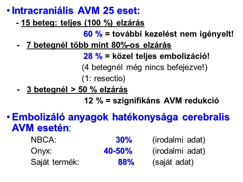 Intracraniális AVM 25 eset:Intracraniális AVM 25 eset: - 15 beteg: teljes (100 %) elzárás 60 % 60 % = további kezelést nem igényelt.