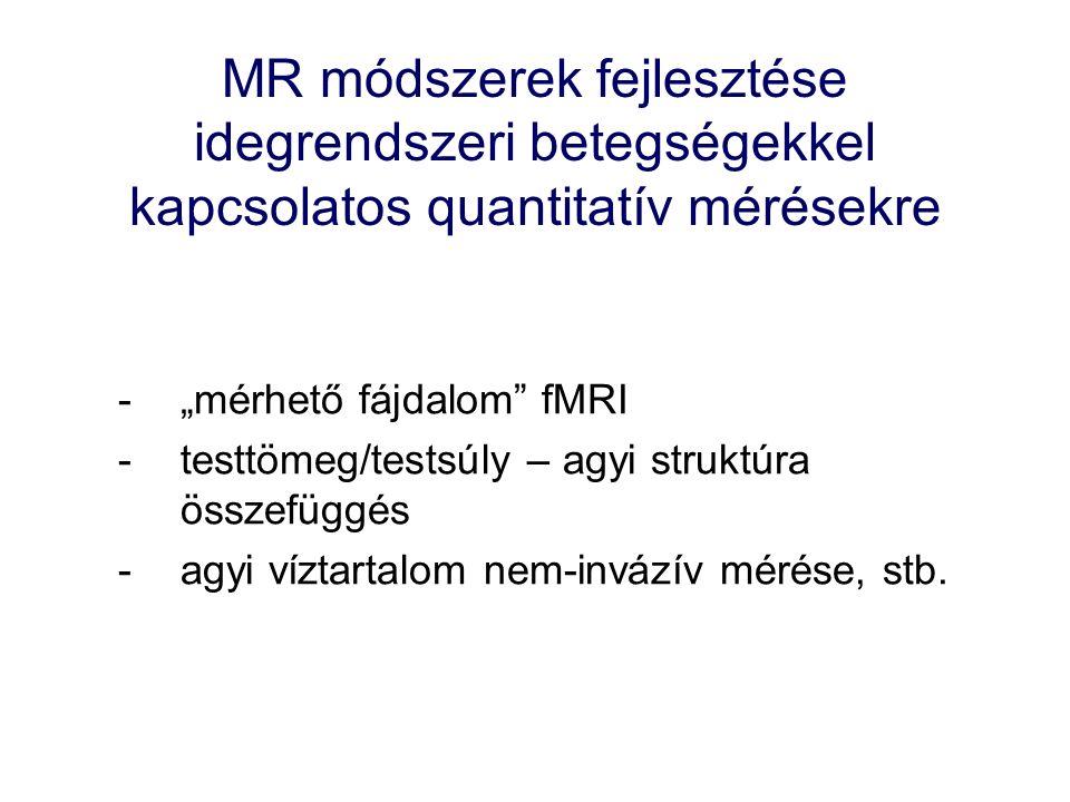 """MR módszerek fejlesztése idegrendszeri betegségekkel kapcsolatos quantitatív mérésekre -""""mérhető fájdalom fMRI -testtömeg/testsúly – agyi struktúra összefüggés -agyi víztartalom nem-invázív mérése, stb."""