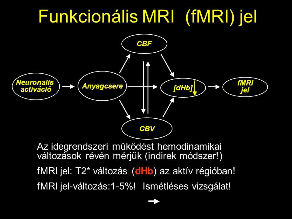 Funkcionális MRI (fMRI) jel Neuronalis activáció Anyagcsere CBF CBV [dHb] fMRI jel Az idegrendszeri működést hemodinamikai változások révén mérjük (indirek módszer!) fMRI jel: T2* változás (dHb) az aktív régióban.