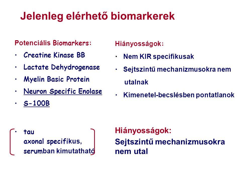 Potenciális Biomarkers: Creatine Kinase BB Lactate Dehydrogenase Myelin Basic Protein Neuron Specific Enolase S-100B Hiányosságok : Nem KIR specifikusak Sejtszintű mechanizmusokra nem utalnak Kimenetel-becslésben pontatlanok Hiányosságok: Sejtszintű mechanizmusokra nem utal tau axonal specifi kus, serum ban kimutatható Jelenleg elérhető biomarkerek