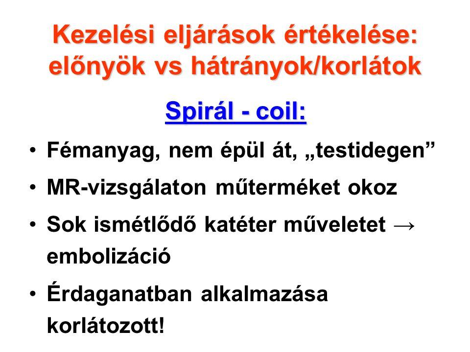 """Spirál - coil: Fémanyag, nem épül át, """"testidegen MR-vizsgálaton műterméket okoz Sok ismétlődő katéter műveletet → embolizáció Érdaganatban alkalmazása korlátozott."""