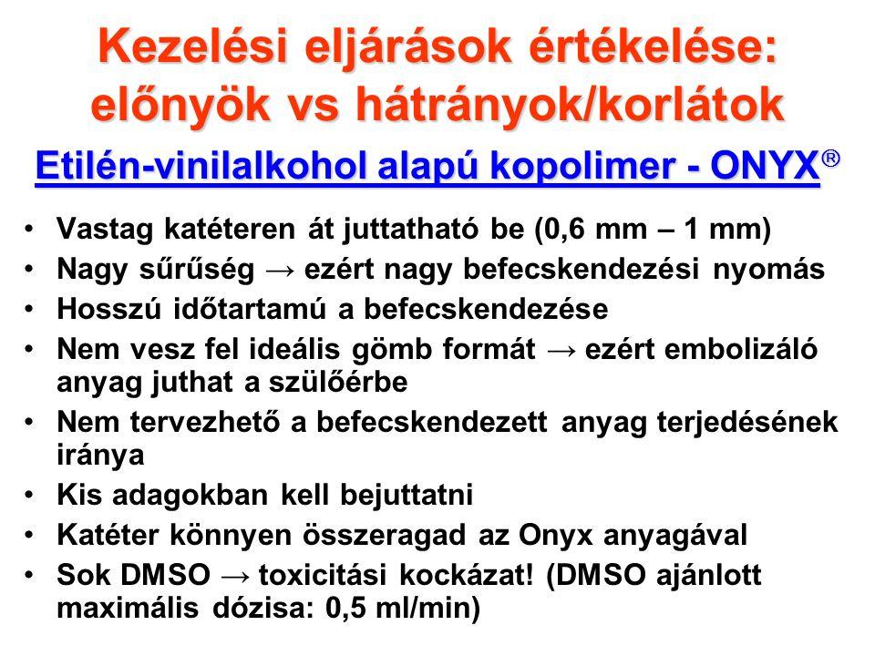 Etilén-vinilalkohol alapú kopolimer - ONYX  Vastag katéteren át juttatható be (0,6 mm – 1 mm) Nagy sűrűség → ezért nagy befecskendezési nyomás Hosszú időtartamú a befecskendezése Nem vesz fel ideális gömb formát → ezért embolizáló anyag juthat a szülőérbe Nem tervezhető a befecskendezett anyag terjedésének iránya Kis adagokban kell bejuttatni Katéter könnyen összeragad az Onyx anyagával Sok DMSO → toxicitási kockázat.