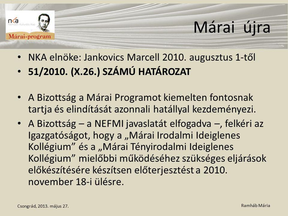 Ramháb Mária Márai újra NKA elnöke: Jankovics Marcell 2010. augusztus 1-től 51/2010. (X.26.) SZÁMÚ HATÁROZAT A Bizottság a Márai Programot kiemelten f