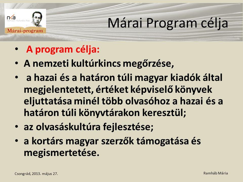 Ramháb Mária Márai Program célja A program célja: A nemzeti kultúrkincs megőrzése, a hazai és a határon túli magyar kiadók által megjelentetett, értéket képviselő könyvek eljuttatása minél több olvasóhoz a hazai és a határon túli könyvtárakon keresztül; az olvasáskultúra fejlesztése; a kortárs magyar szerzők támogatása és megismertetése.