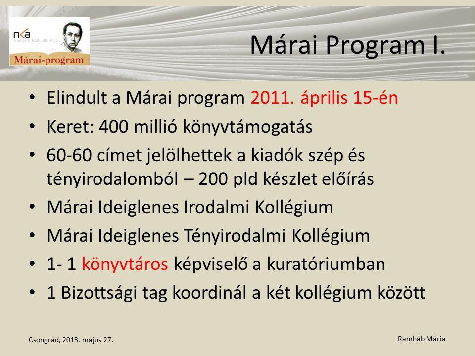 Ramháb Mária Márai Program I. Elindult a Márai program 2011. április 15-én Keret: 400 millió könyvtámogatás 60-60 címet jelölhettek a kiadók szép és t