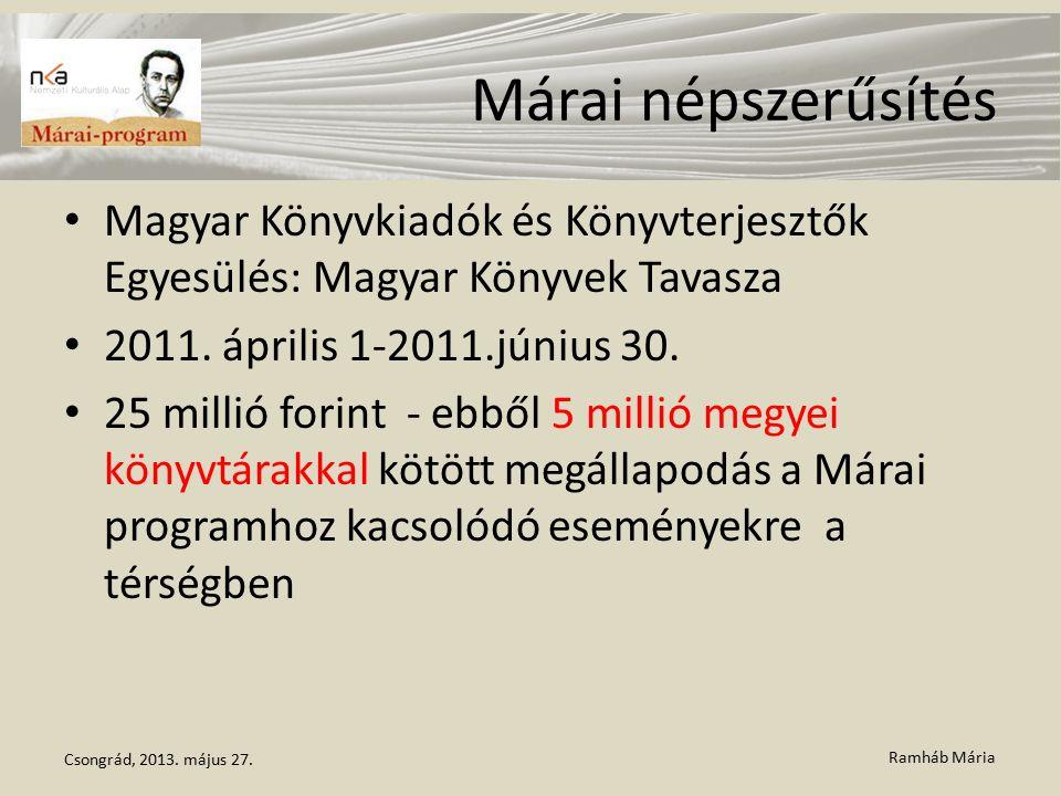 Ramháb Mária Márai népszerűsítés Magyar Könyvkiadók és Könyvterjesztők Egyesülés: Magyar Könyvek Tavasza 2011. április 1-2011.június 30. 25 millió for