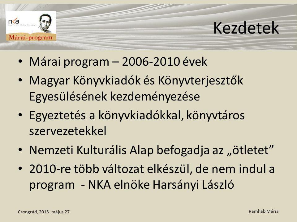 Ramháb Mária Kezdetek Márai program – 2006-2010 évek Magyar Könyvkiadók és Könyvterjesztők Egyesülésének kezdeményezése Egyeztetés a könyvkiadókkal, k