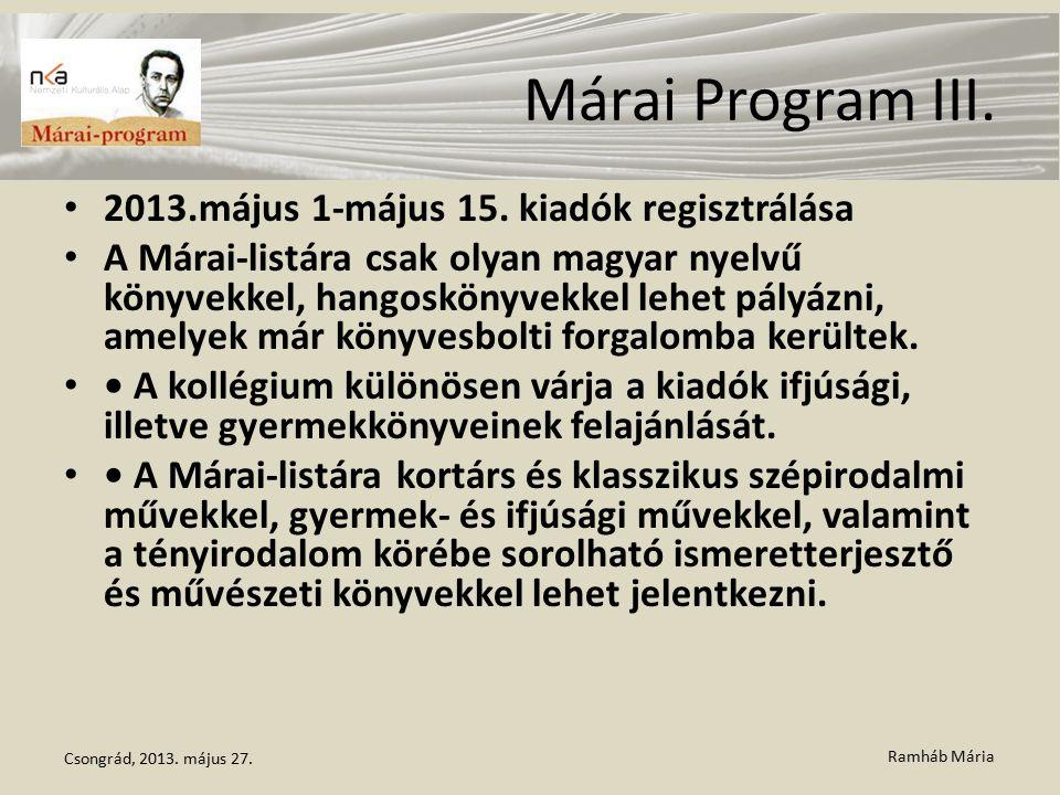 Ramháb Mária Márai Program III. 2013.május 1-május 15. kiadók regisztrálása A Márai-listára csak olyan magyar nyelvű könyvekkel, hangoskönyvekkel lehe