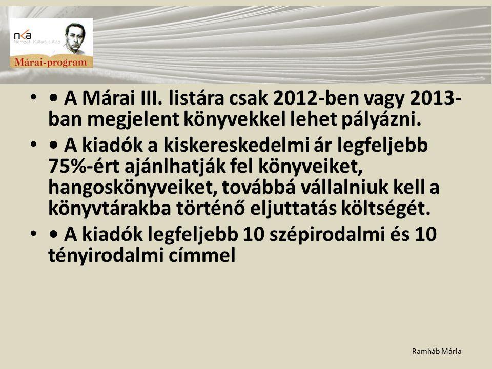 Ramháb Mária A Márai III. listára csak 2012-ben vagy 2013- ban megjelent könyvekkel lehet pályázni. A kiadók a kiskereskedelmi ár legfeljebb 75%-ért a