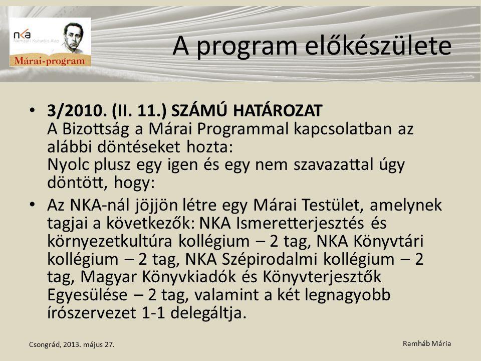 Ramháb Mária A program előkészülete 3/2010. (II. 11.) SZÁMÚ HATÁROZAT A Bizottság a Márai Programmal kapcsolatban az alábbi döntéseket hozta: Nyolc pl