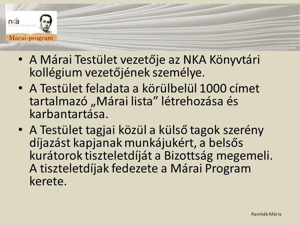 """Ramháb Mária A Márai Testület vezetője az NKA Könyvtári kollégium vezetőjének személye. A Testület feladata a körülbelül 1000 címet tartalmazó """"Márai"""