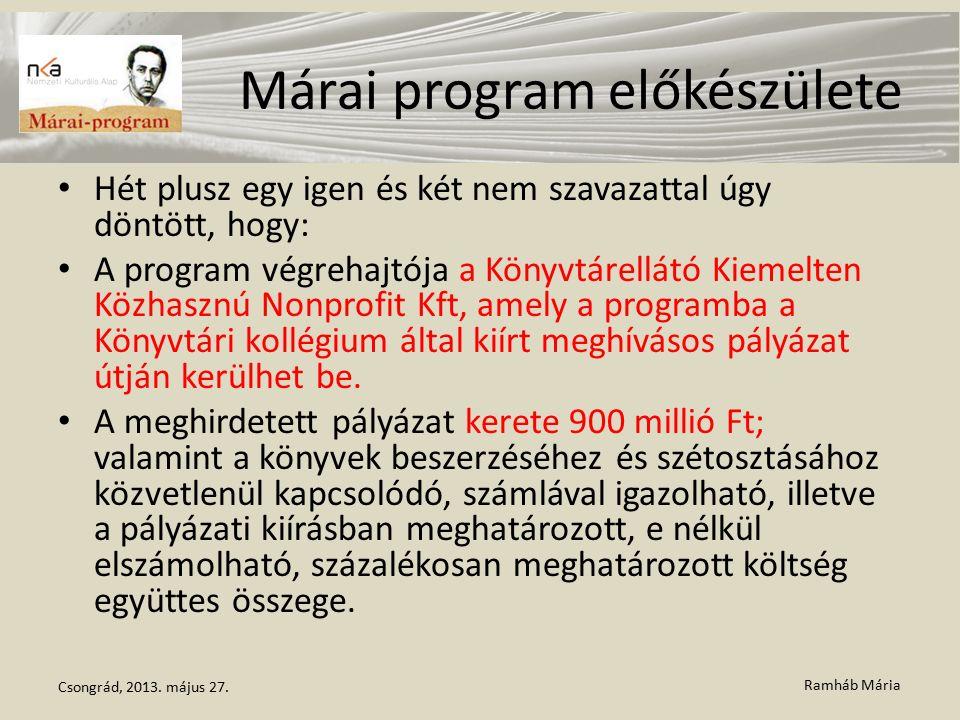 Ramháb Mária Márai program előkészülete Hét plusz egy igen és két nem szavazattal úgy döntött, hogy: A program végrehajtója a Könyvtárellátó Kiemelten