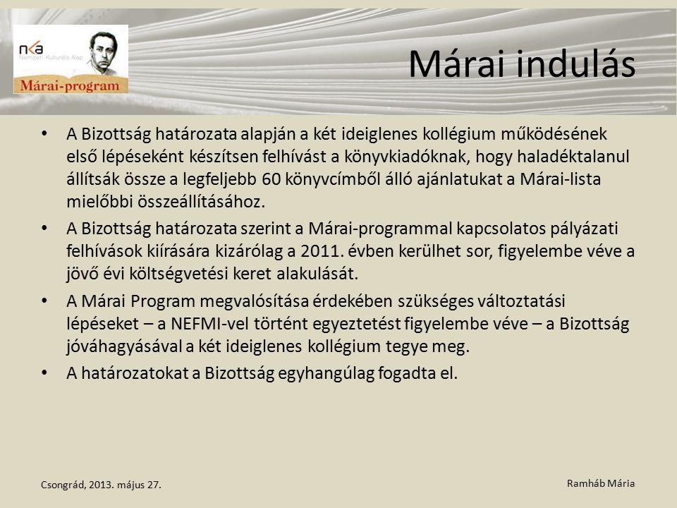 Ramháb Mária Márai indulás A Bizottság határozata alapján a két ideiglenes kollégium működésének első lépéseként készítsen felhívást a könyvkiadóknak, hogy haladéktalanul állítsák össze a legfeljebb 60 könyvcímből álló ajánlatukat a Márai-lista mielőbbi összeállításához.