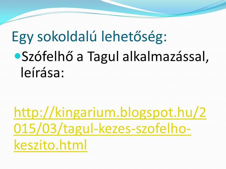 Egy sokoldalú lehetőség: Szófelhő a Tagul alkalmazással, leírása: http://kingarium.blogspot.hu/2 015/03/tagul-kezes-szofelho- keszito.html