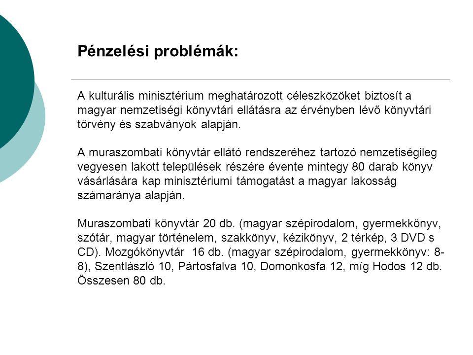 Pénzelési problémák: A kulturális minisztérium meghatározott céleszközöket biztosít a magyar nemzetiségi könyvtári ellátásra az érvényben lévő könyvtári törvény és szabványok alapján.