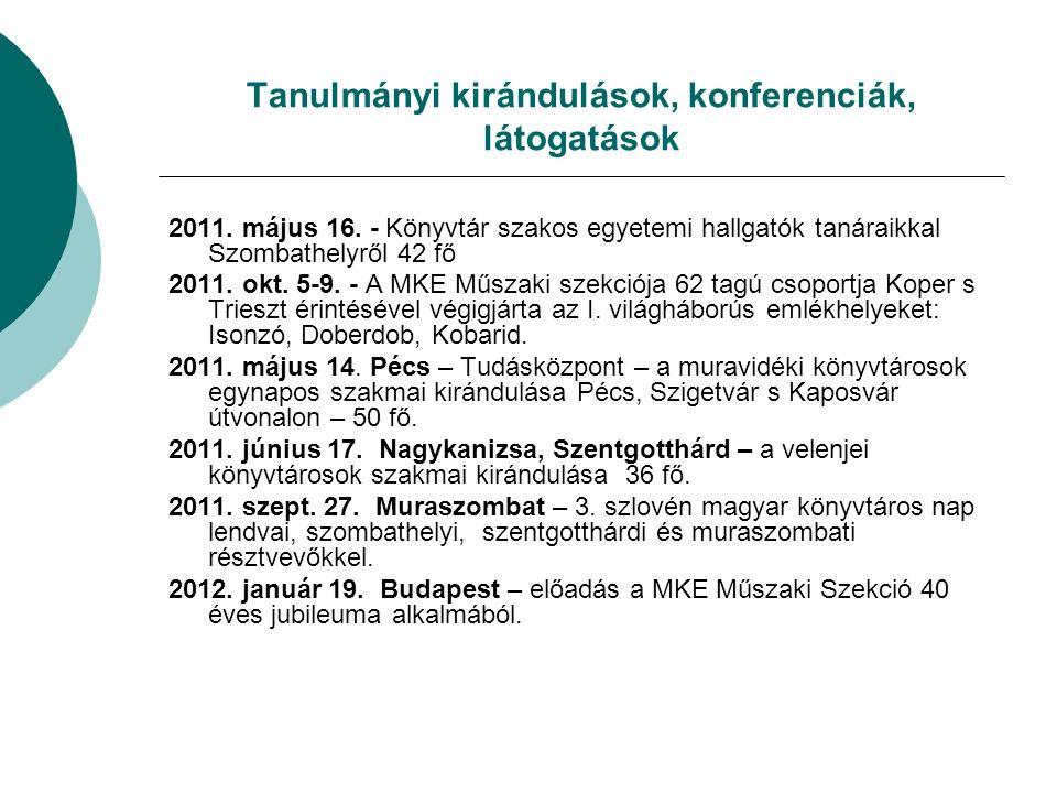 Tanulmányi kirándulások, konferenciák, látogatások 2011.
