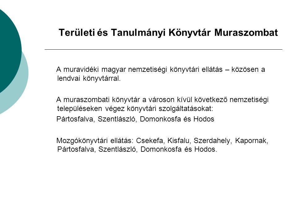 Területi és Tanulmányi Könyvtár Muraszombat A muravidéki magyar nemzetiségi könyvtári ellátás – közösen a lendvai könyvtárral.