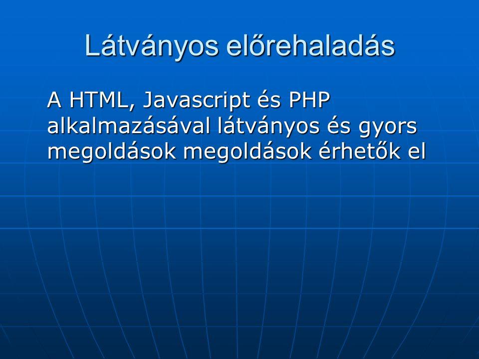 Látványos előrehaladás A HTML, Javascript és PHP alkalmazásával látványos és gyors megoldások megoldások érhetők el