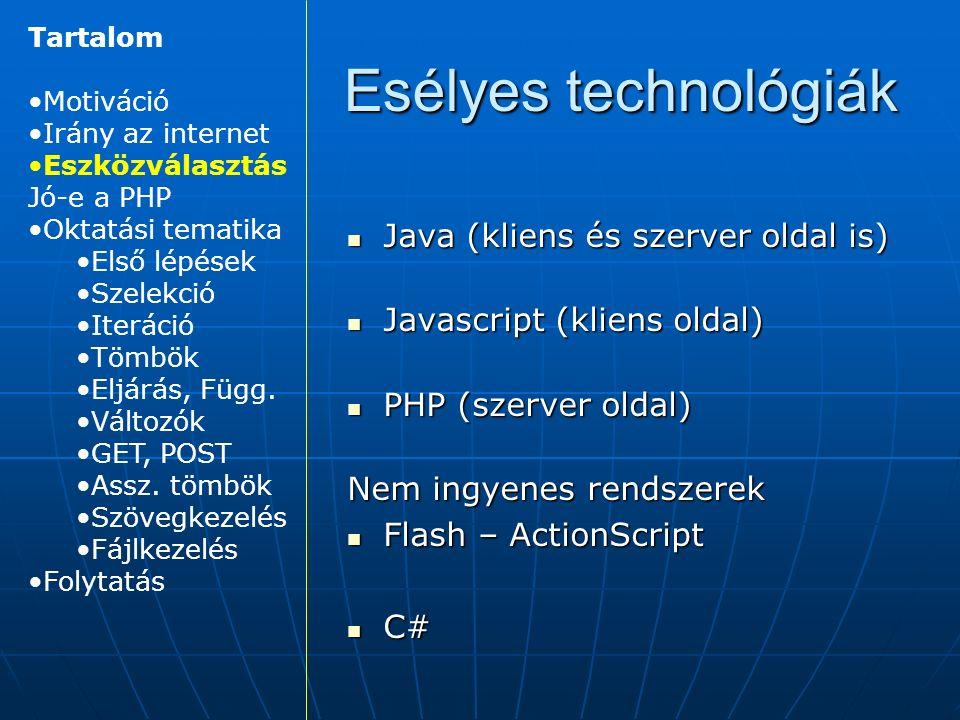 Java (kliens és szerver oldal is) Java (kliens és szerver oldal is) Javascript (kliens oldal) Javascript (kliens oldal) PHP (szerver oldal) PHP (szerver oldal) Nem ingyenes rendszerek Flash – ActionScript Flash – ActionScript C# C# Esélyes technológiák Tartalom Motiváció Irány az internet Eszközválasztás Jó-e a PHP Oktatási tematika Első lépések Szelekció Iteráció Tömbök Eljárás, Függ.