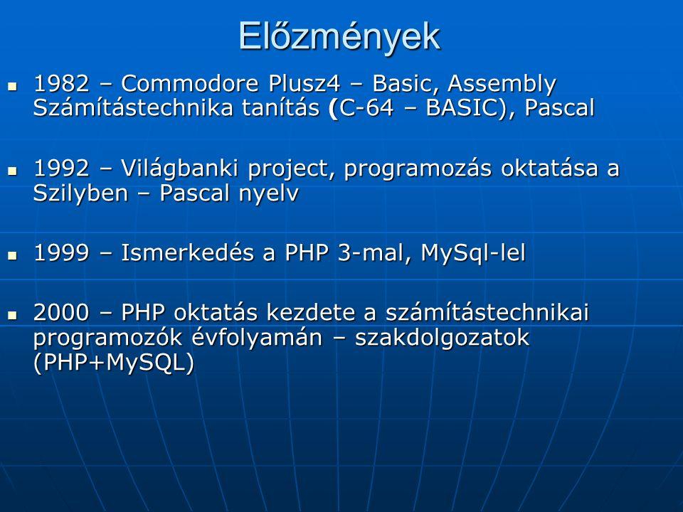 PHP programozási nyelv oktatási tematikája