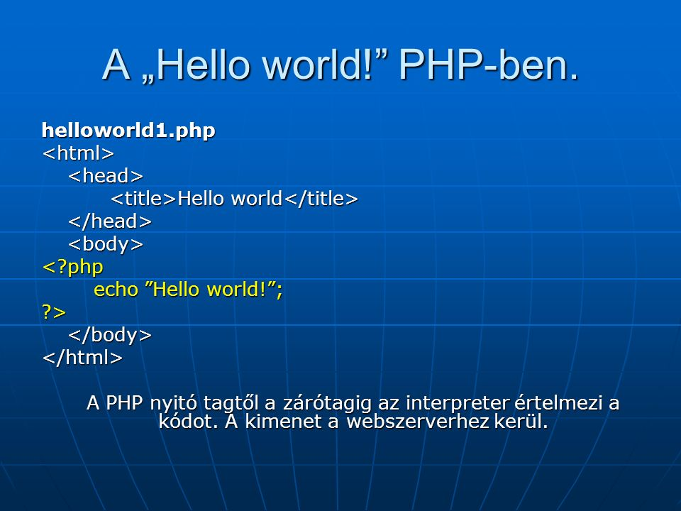 "A ""Hello world! PHP-ben."
