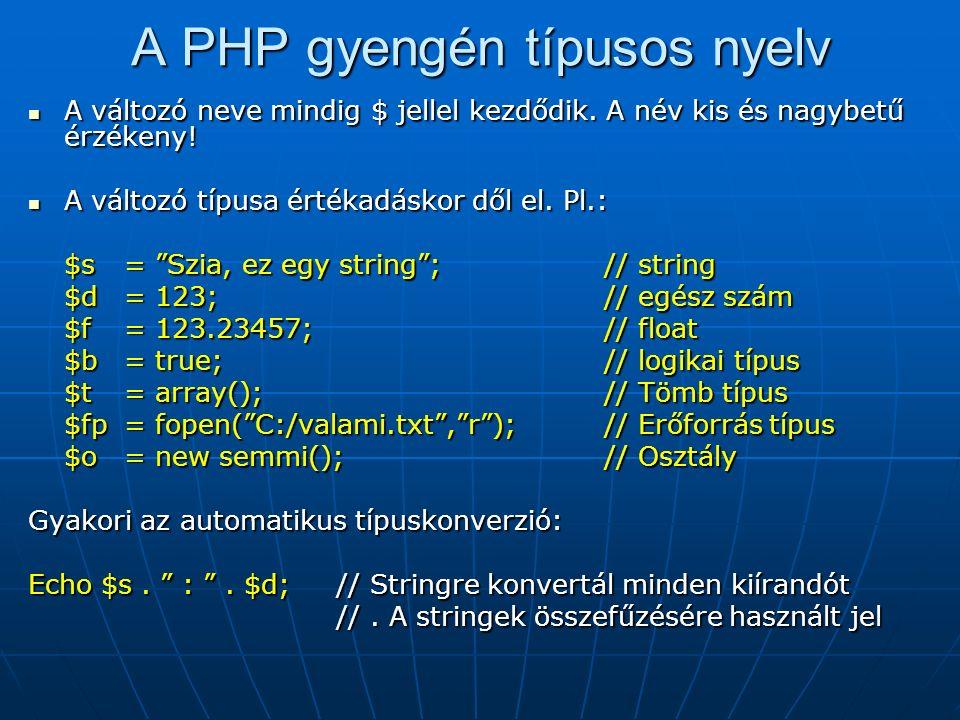 A PHP gyengén típusos nyelv A változó neve mindig $ jellel kezdődik.