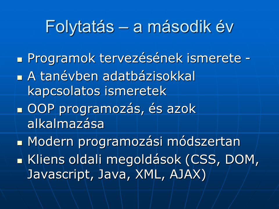 Folytatás – a második év Programok tervezésének ismerete - Programok tervezésének ismerete - A tanévben adatbázisokkal kapcsolatos ismeretek A tanévben adatbázisokkal kapcsolatos ismeretek OOP programozás, és azok alkalmazása OOP programozás, és azok alkalmazása Modern programozási módszertan Modern programozási módszertan Kliens oldali megoldások (CSS, DOM, Javascript, Java, XML, AJAX) Kliens oldali megoldások (CSS, DOM, Javascript, Java, XML, AJAX)