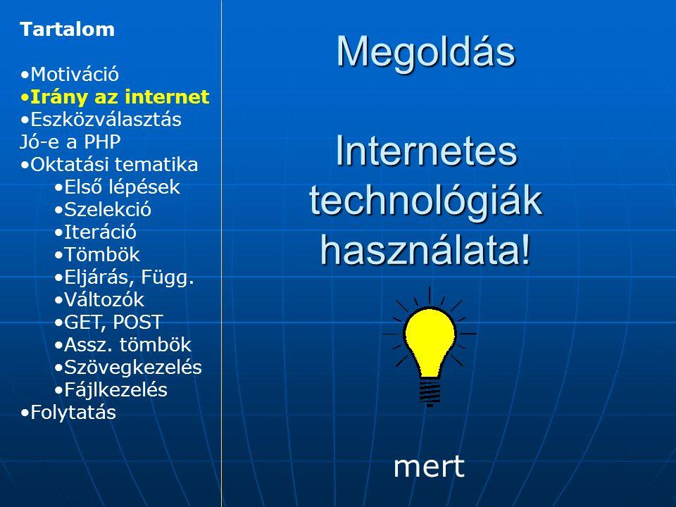 Megoldás Internetes technológiák használata.