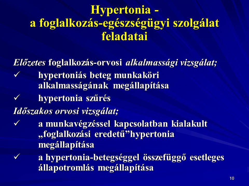 """10 Hypertonia - a foglalkozás-egészségügyi szolgálat feladatai Előzetes foglalkozás-orvosi alkalmassági vizsgálat; hypertoniás beteg munkaköri alkalmasságának megállapítása hypertoniás beteg munkaköri alkalmasságának megállapítása hypertonia szűrés hypertonia szűrés Időszakos orvosi vizsgálat; a munkavégzéssel kapcsolatban kialakult """"foglalkozási eredetű hypertonia megállapítása a munkavégzéssel kapcsolatban kialakult """"foglalkozási eredetű hypertonia megállapítása a hypertonia-betegséggel összefüggő esetleges állapotromlás megállapítása a hypertonia-betegséggel összefüggő esetleges állapotromlás megállapítása"""