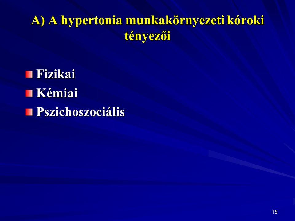 15 A) A hypertonia munkakörnyezeti kóroki tényezői FizikaiKémiaiPszichoszociális