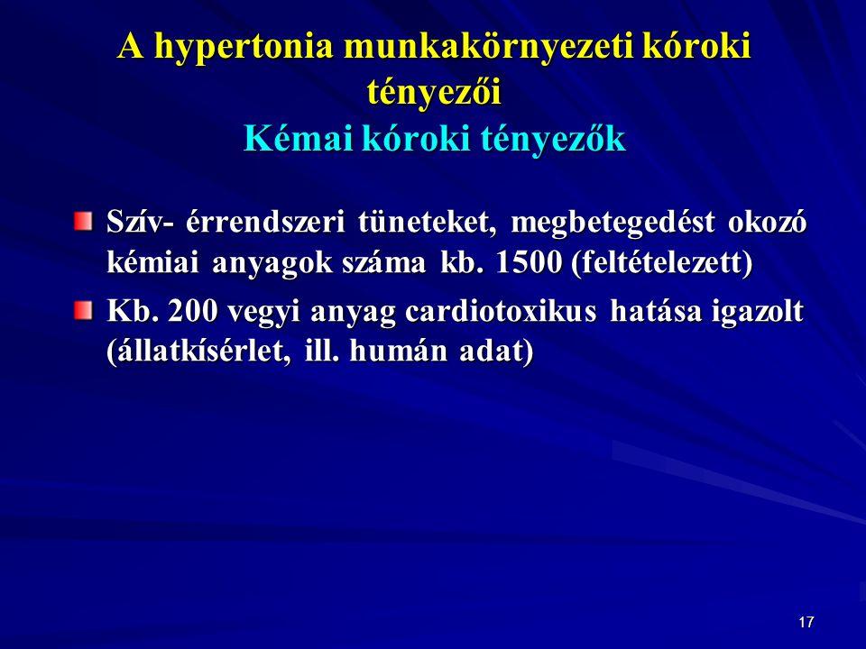 17 A hypertonia munkakörnyezeti kóroki tényezői Kémai kóroki tényezők Szív- érrendszeri tüneteket, megbetegedést okozó kémiai anyagok száma kb.