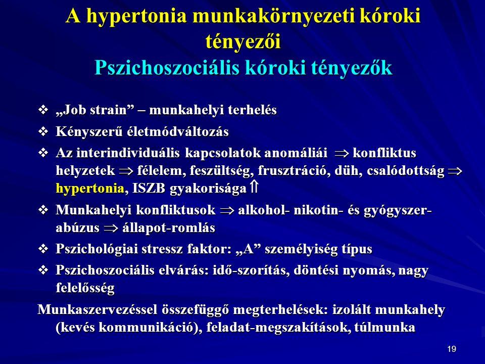 """19 A hypertonia munkakörnyezeti kóroki tényezői Pszichoszociális kóroki tényezők  """"Job strain – munkahelyi terhelés  Kényszerű életmódváltozás  Az interindividuális kapcsolatok anomáliái  konfliktus helyzetek  félelem, feszültség, frusztráció, düh, csalódottság  hypertonia, ISZB gyakorisága   Munkahelyi konfliktusok  alkohol- nikotin- és gyógyszer- abúzus  állapot-romlás  Pszichológiai stressz faktor: """"A személyiség típus  Pszichoszociális elvárás: idő-szorítás, döntési nyomás, nagy felelősség Munkaszervezéssel összefüggő megterhelések: izolált munkahely (kevés kommunikáció), feladat-megszakítások, túlmunka"""