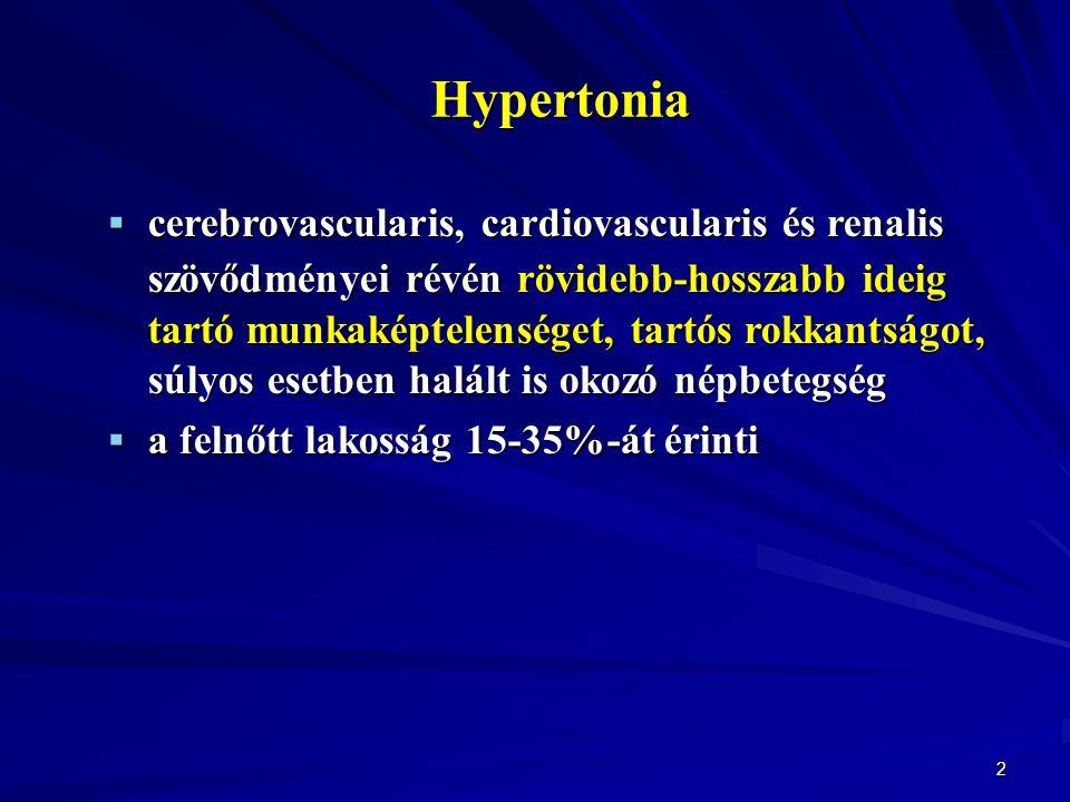 2 Hypertonia  cerebrovascularis, cardiovascularis és renalis szövődményei révén rövidebb-hosszabb ideig tartó munkaképtelenséget, tartós rokkantságot, súlyos esetben halált is okozó népbetegség  a felnőtt lakosság 15-35%-át érinti