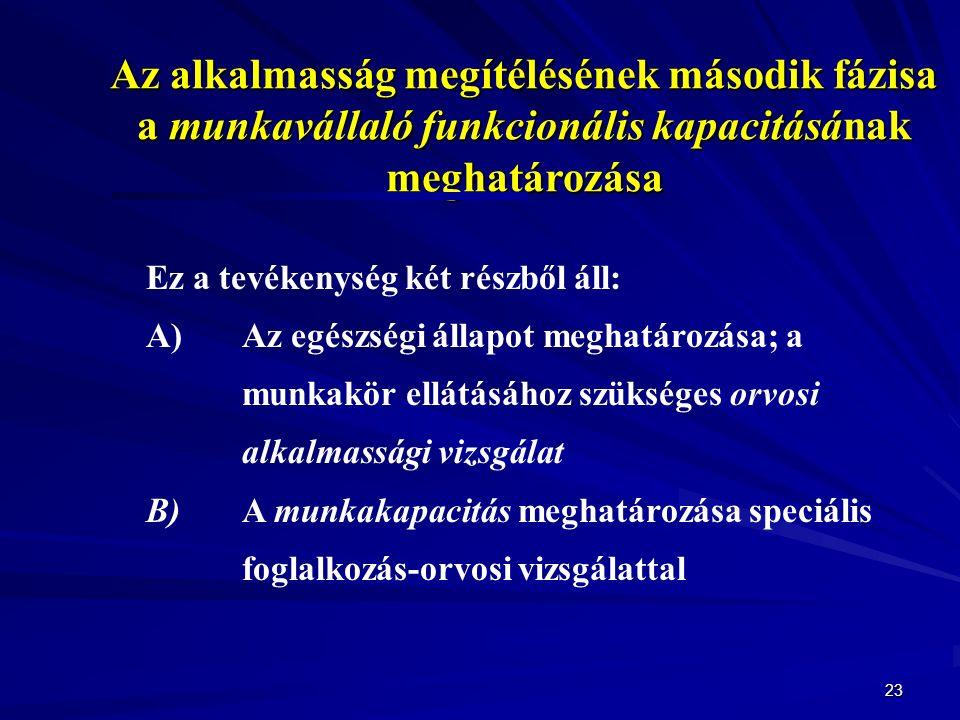 23 Az alkalmasság megítélésének második fázisa a munkavállaló funkcionális kapacitásának meghatározása Ez a tevékenység két részből áll: A)Az egészségi állapot meghatározása; a munkakör ellátásához szükséges orvosi alkalmassági vizsgálat B)A munkakapacitás meghatározása speciális foglalkozás-orvosi vizsgálattal