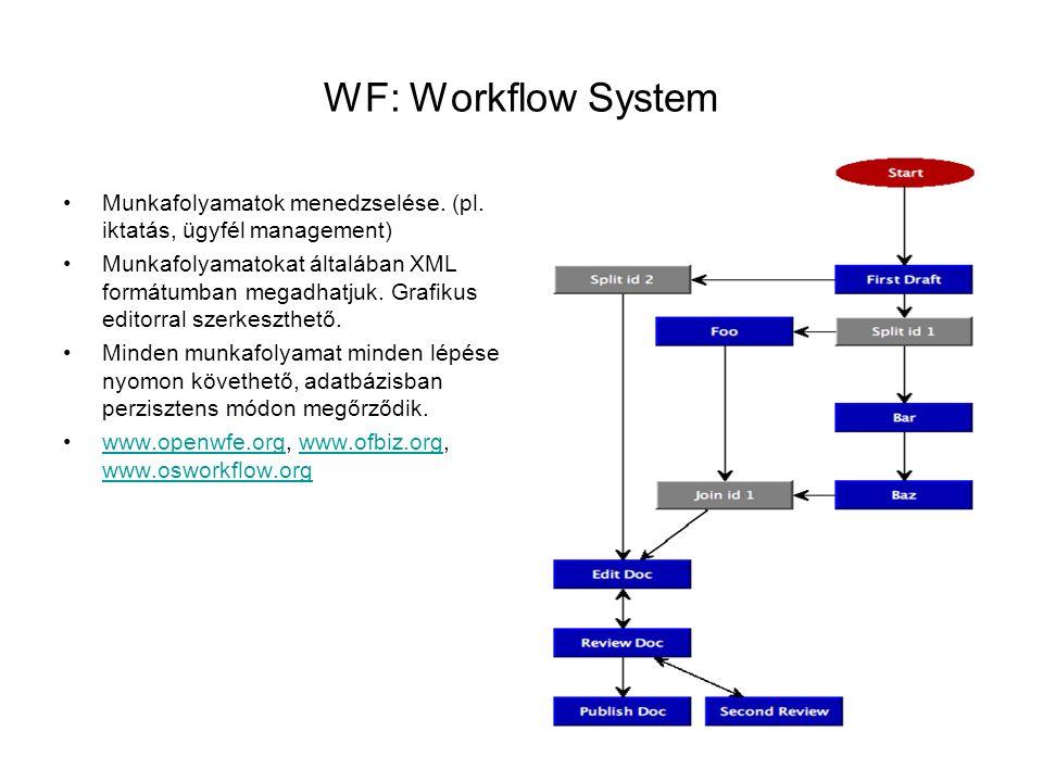 WF: Workflow System Munkafolyamatok menedzselése. (pl. iktatás, ügyfél management) Munkafolyamatokat általában XML formátumban megadhatjuk. Grafikus e