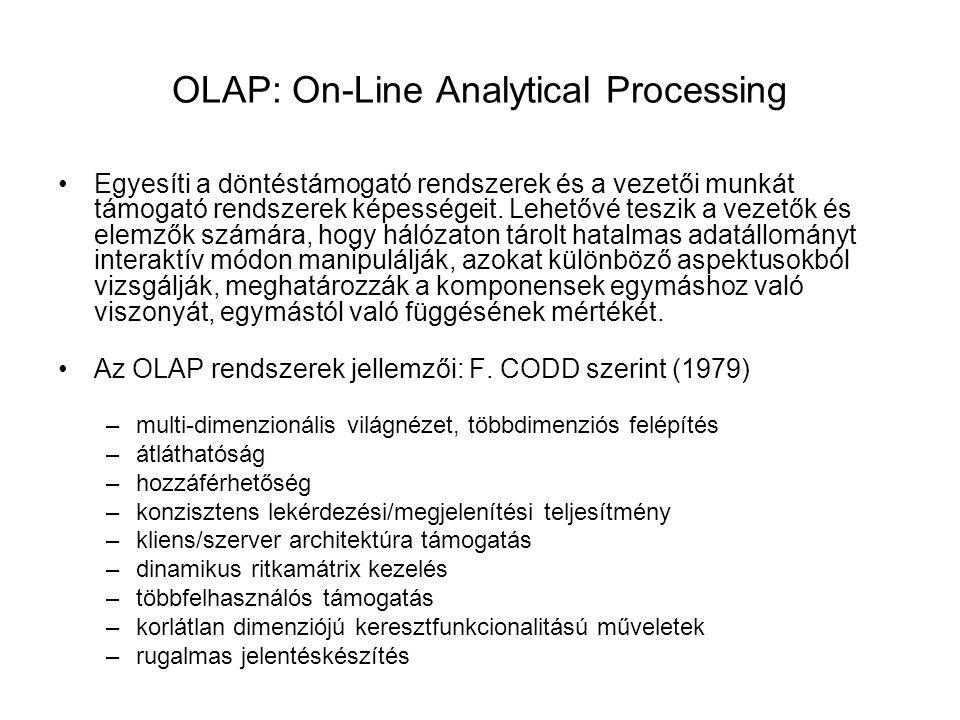 OLAP: On-Line Analytical Processing Egyesíti a döntéstámogató rendszerek és a vezetői munkát támogató rendszerek képességeit. Lehetővé teszik a vezető