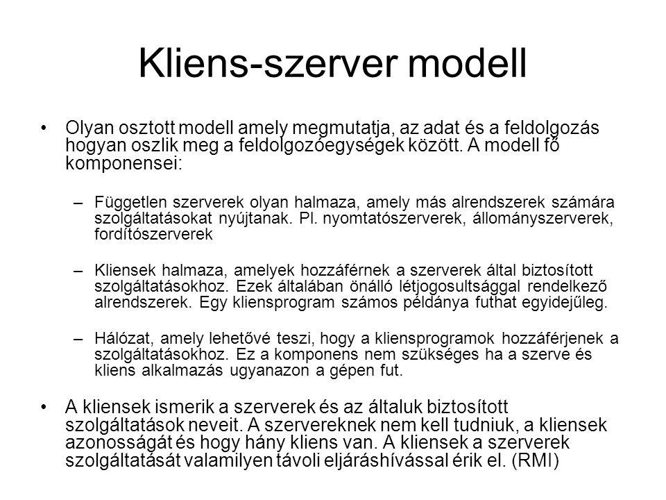 Kliens-szerver modell Olyan osztott modell amely megmutatja, az adat és a feldolgozás hogyan oszlik meg a feldolgozóegységek között. A modell fő kompo