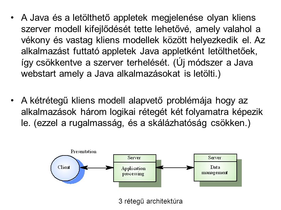 A Java és a letölthető appletek megjelenése olyan kliens szerver modell kifejlődését tette lehetővé, amely valahol a vékony és vastag kliens modellek