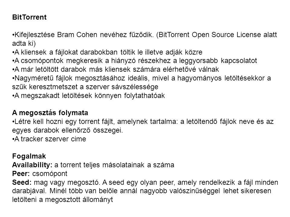 BitTorrent Kifejlesztése Bram Cohen nevéhez fűződik. (BitTorrent Open Source License alatt adta ki) A kliensek a fájlokat darabokban töltik le illetve