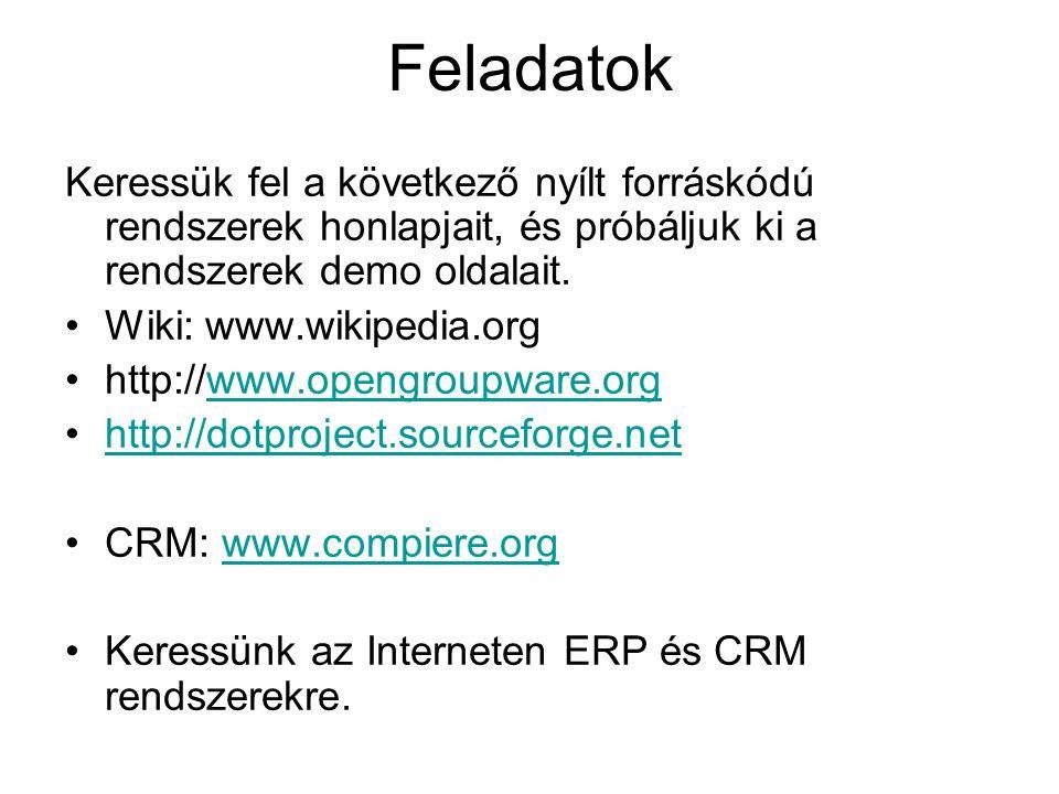 Feladatok Keressük fel a következő nyílt forráskódú rendszerek honlapjait, és próbáljuk ki a rendszerek demo oldalait. Wiki: www.wikipedia.org http://