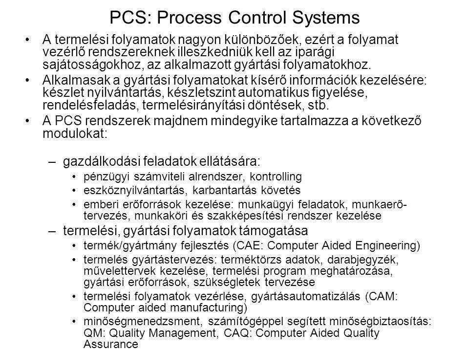 PCS: Process Control Systems A termelési folyamatok nagyon különbözőek, ezért a folyamat vezérlő rendszereknek illeszkedniük kell az iparági sajátossá