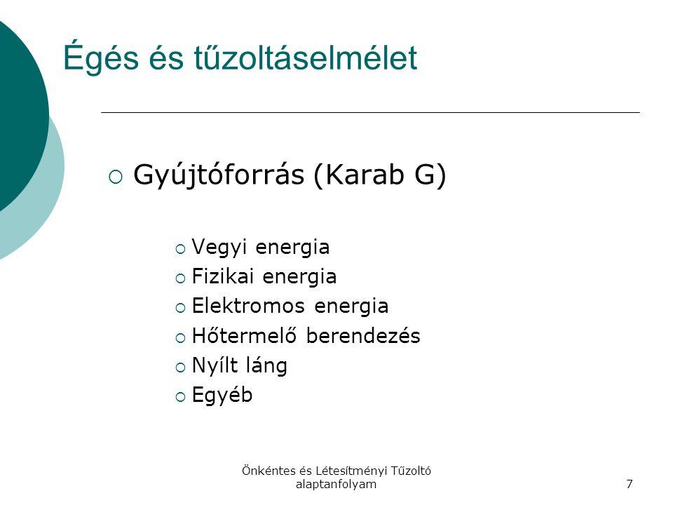 Önkéntes és Létesítményi Tűzoltó alaptanfolyam7 Égés és tűzoltáselmélet  Gyújtóforrás (Karab G)  Vegyi energia  Fizikai energia  Elektromos energia  Hőtermelő berendezés  Nyílt láng  Egyéb