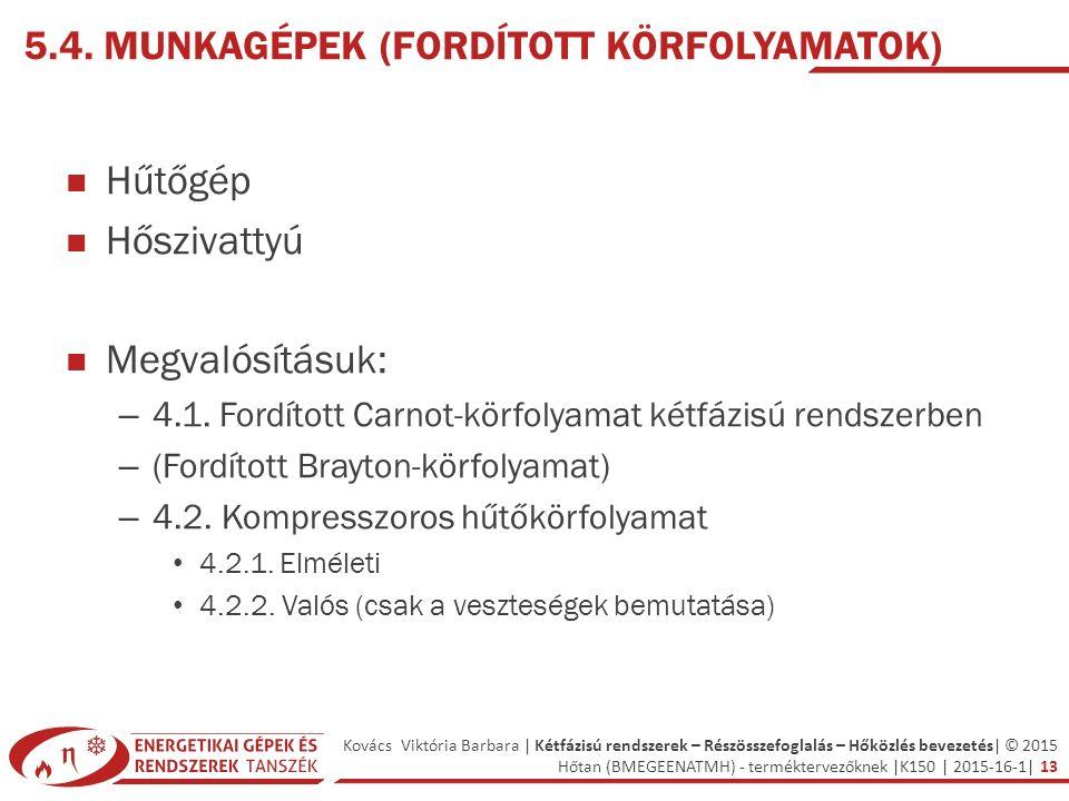 Kovács Viktória Barbara | Kétfázisú rendszerek – Részösszefoglalás – Hőközlés bevezetés| © 2015 Hőtan (BMEGEENATMH) - terméktervezőknek |K150 | 2015-16-1| 13 5.4.