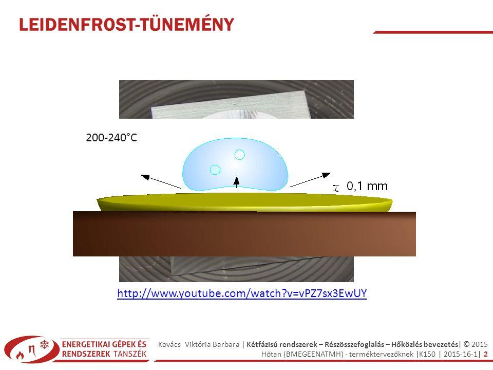 Kovács Viktória Barbara | Kétfázisú rendszerek – Részösszefoglalás – Hőközlés bevezetés| © 2015 Hőtan (BMEGEENATMH) - terméktervezőknek |K150 | 2015-16-1| 2 LEIDENFROST-TÜNEMÉNY http://www.youtube.com/watch v=vPZ7sx3EwUY 200-240°C