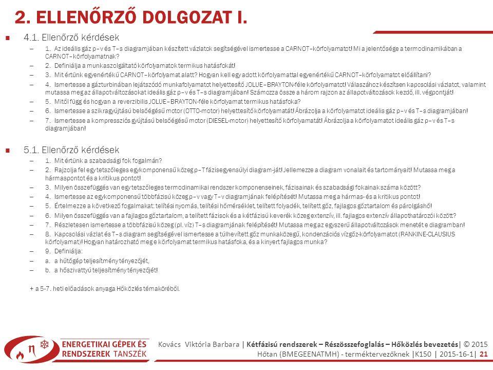 Kovács Viktória Barbara | Kétfázisú rendszerek – Részösszefoglalás – Hőközlés bevezetés| © 2015 Hőtan (BMEGEENATMH) - terméktervezőknek |K150 | 2015-16-1| 21 2.