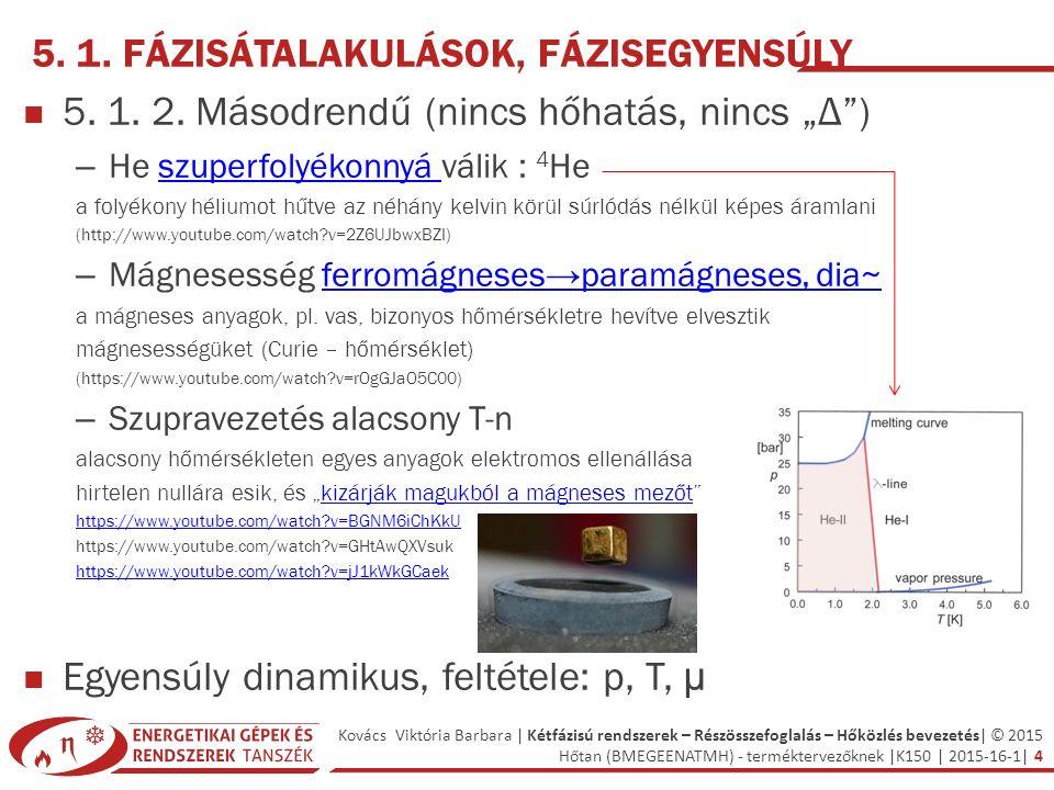 Kovács Viktória Barbara | Kétfázisú rendszerek – Részösszefoglalás – Hőközlés bevezetés| © 2015 Hőtan (BMEGEENATMH) - terméktervezőknek |K150 | 2015-16-1| 5 µ 1 (p, T) = µ 2 (p, T) → p = f (T) és T = f (p) 5.2.1.