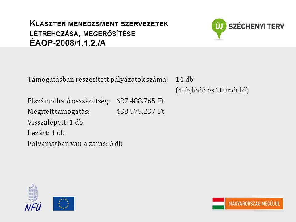 K LASZTER MENEDZSMENT SZERVEZETEK LÉTREHOZÁSA, MEGERŐSÍTÉSE ÉAOP-2008/1.1.2./A Fő együttműködési tématerületek: agrár- és élelmiszer-innováció építőipari-mérnöki tervezés informatika létesítmény-energetika műszergyártás, diagnosztika és módszerfejlesztés számviteli- és adószakértői tevékenységek termál-innováció turisztikai innováció zöldipari fejlesztések