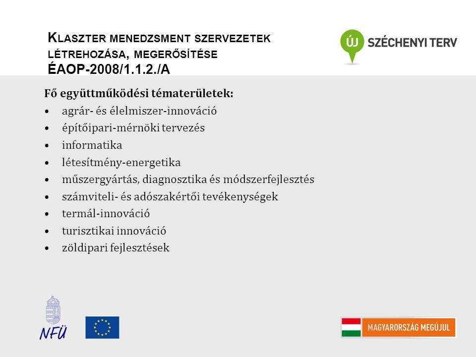 K LASZTER MENEDZSMENT SZERVEZETEK LÉTREHOZÁSA, MEGERŐSÍTÉSE ÉAOP-2008/1.1.2./A Jellemző együttműködési tevékenységek: új tagok felkutatása, benchmarking klubok szervezése projektgenerálás, termékfejlesztés, közös K+F tevékenység, közös projektek előkészítése, szakmai rendezvények és kiállítások szervezése, illetve azokon történő részvétel jó megoldások felkutatása és adaptálása, újdonságkutatás, technológia- transzfer elősegítése tanulmányutak szervezése klasztertagok számára arculatfejlesztés, marketing tanácsadás klasztertagoknak, piackutatás stratégiafejlesztés, humán erőforrás igények feltérképezése, kompetencia fejlesztés, környezet- és minőségirányítási rendszerek kialakítása innováció-menedzsment, szakmai képzések a klaszter működési területén, képzési tananyagok kidolgozása, közös használatú informatikai platformok létrehozása