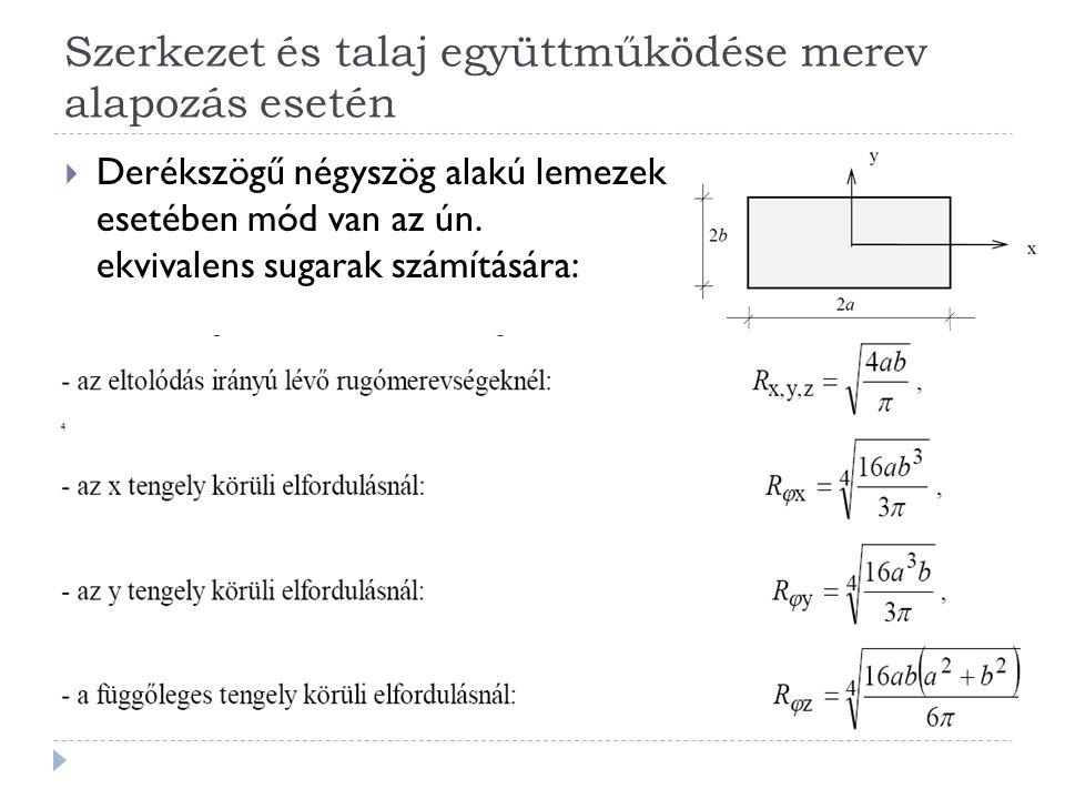 Szerkezet és talaj együttműködése merev alapozás esetén  Derékszögű négyszög alakú lemezek esetében mód van az ún.